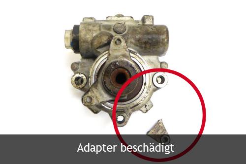 Servopumpe mit einem beschädigten Adapter
